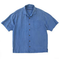 S/S Open Collar Silk Shirt / Blue / Used