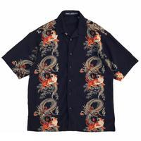 Tiger & Dragon Printed Open Collar Shirt / Navy / Used