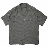 Made in USA / Rayon Open Collar Check Shirt / Black / Used