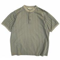 90's Eddie Bauer / Henley Neck Cotton Striped Tee / Khaki / Used