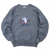 Made in USA / 70-80s JERZEEES / NWF Duck Embroidered Sweat / Grey / Used