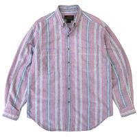 80'S Eddie Bauer / Cotton B.D. Stripe Shirt / Red × Navy / Used