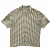 Rayon Open Collar Check Shirt / Beige×Olive / Used