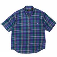 80's Eddie Bauer / Cotton Multi Check B.D. Shirt / Used