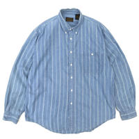 80s Eddie Bauer / Lite Denim Stripe Shirt / Blue / Used