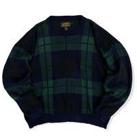 80's Eddie Bauer / Multi Checked Cotton Knit / Multi Check XL / Used