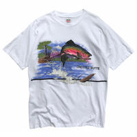 Made in USA / 90's TROUT Tee / White / Used