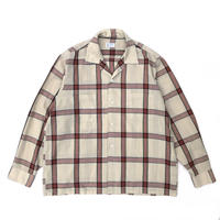 Made in USA / 60s Town Craft /  L/S Open Collar Check Shirt / Cream / Used
