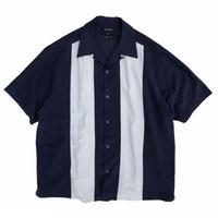 Bi Color Open Collar Silk Shirt / Navy / Used