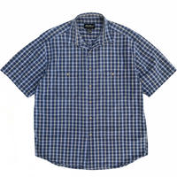 00s Eddie Bauer / 2Pocket Cotton Check S/S Shirt / Blue Check / Used