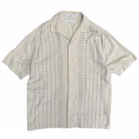 """Silk"" Designed  Open Collar Shirt / Ivory / Used"