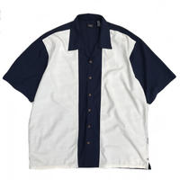 Bi Color  Open Collar Shirt / Navy × White / Used