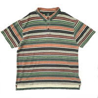 ORVIS  / S/S Border Polo Shirt / Khaki × Brown / Used
