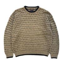 """00's Woolrich / Pullover Wool Sweater """"Birds Eye"""" / Beige / Used"""