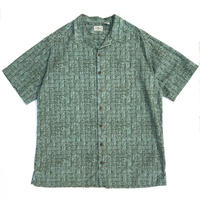 00s L.L.Bean / Ancient Pattern Open Collar Shirt / Green / Used