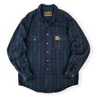 Made in USA / 80's Eddie Bauer / 2Pocket Cotton Black Watch Checked Shirt / Used