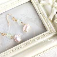なみの真珠(プレナイトと真珠のピアス/イヤリング)