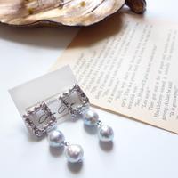 あこや真珠ブルーグレー スクエアピアス