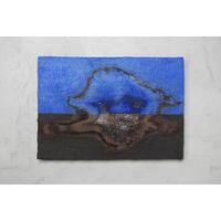 小橋順明 青い風景   サイズ:サムホール(158mm×227mm×25mm)パネルにステンレスメッシュ、陶土、顔料、釉薬
