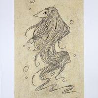 阿部瑞樹 -アマビエ-(メディウム剥がし刷り版画)ED10