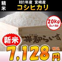 【精米】R01年度産 宮崎産 コシヒカリ 20kg【新米】