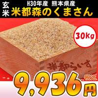 【玄米】H30年産 熊本産 米都森のくまさん 2等米以上 30kg