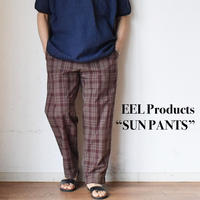 """【今季は異素材のチェック柄とブラック!】EEL Products """"SUN PANTS"""" イール プロダクツ """"サンパンツ"""" ブラウンチェック/ブラック"""