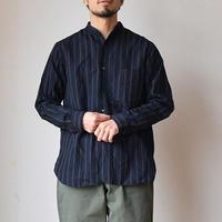 【今季は大人のストライプ柄2色!】A VONTADE ア ボンタージ  バンドカラーシャツ ブラックST/ブラウンST