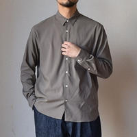 【今季も大人のシャツが届きました!】LA MOND  ラモンド バックサテン コンフォート リラックスシャツ カーキグレー/モカ