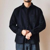 【尾州産ウールを贅沢に!】MANUAL ALPHABET WOOL SHIRTS マニュアルアルファベット ウールシャツ ブラック/グレー
