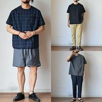 【クールなトロピカル素材!】Re made in tokyo japan  サマーウール調 リラックス Tシャツ ブラック/チャコール/ネイビーチェック
