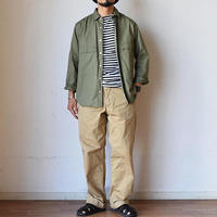 【シャツとジャケットの2WAYデザイン】MANUAL ALPHABET マニュアルアルファベット ツイル ファティーグシャツ ホワイト/オリーブ
