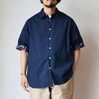【半分、総柄。】EEL Products  イール プロダクツ  MERCI SHIRT メルシーシャツ ネイビー/オリーブ