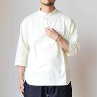 【ノーカラー&七分袖のシャツ!】EEL Products イール プロダクツ チャコールヘンリーナチュラル/ブラック