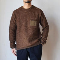 【ボア風カットソー!】Re made in tokyo japan   ウールリング ポケット プルオーバー ブラウン/ネイビー