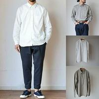 【上品さとリラックスの好バランス】LA MOND スーピマスイスコットン リラックスシャツ ホワイト/グレーベージュ