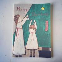 Christmas card  :::  ツリーを飾る女の子たち
