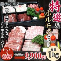 [送料無料]特選焼肉セット&近江牛ホルモンセット(牛肉 総量1㎏)【八勝園】