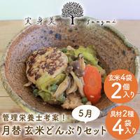 [送料込]月替わり玄米どんぶりセット(具材2種×4袋、玄米ごはん4×2袋)【実身美】