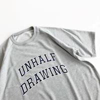 UNHALF DRAWING / SHOT SLEEVE SWEAT / カレッジロゴ / スウェット / グレー