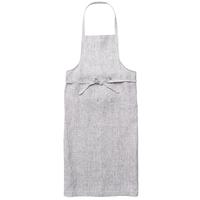 fog linen work / リネン フルエプロン(グレーホワイトストライプ)