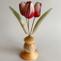 VTG Hand painted marble statue tulip objet ( Small )
