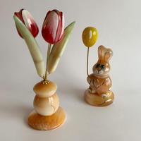 VTG hand painted marble statue rabbit objet
