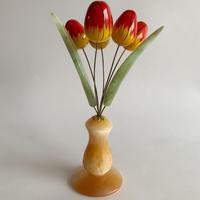 VTG Hand painted marble statue tulip objet ( Medium )
