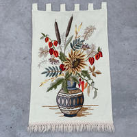 VTG Flower embroidered fringe tapestry