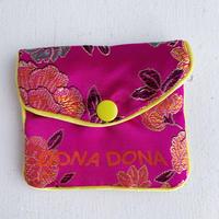 DONADONA printed oriental jqd pouch / Fuchsia