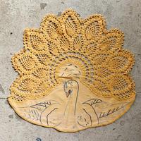 Bird motif embroidered place mat