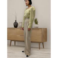 diploa   SQUARE NECK PUFF SLEEVE BLOUSE   Lime Green