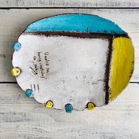 楕円皿大 青×黄色 岩元鐘平