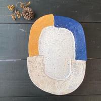 貼り皿 青×オレンジ 片瀬和宏
